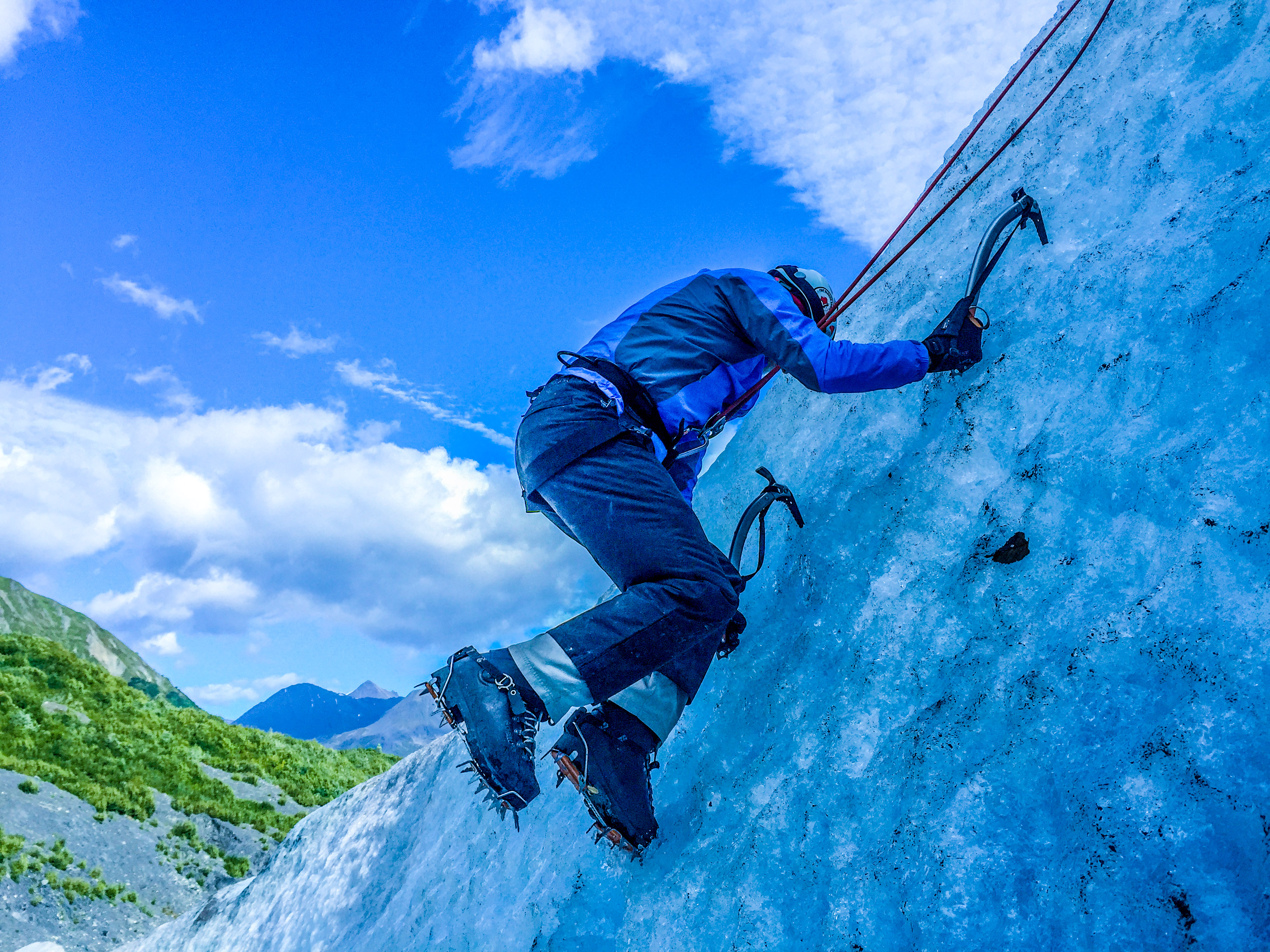 Ice Climbing on a Glacier